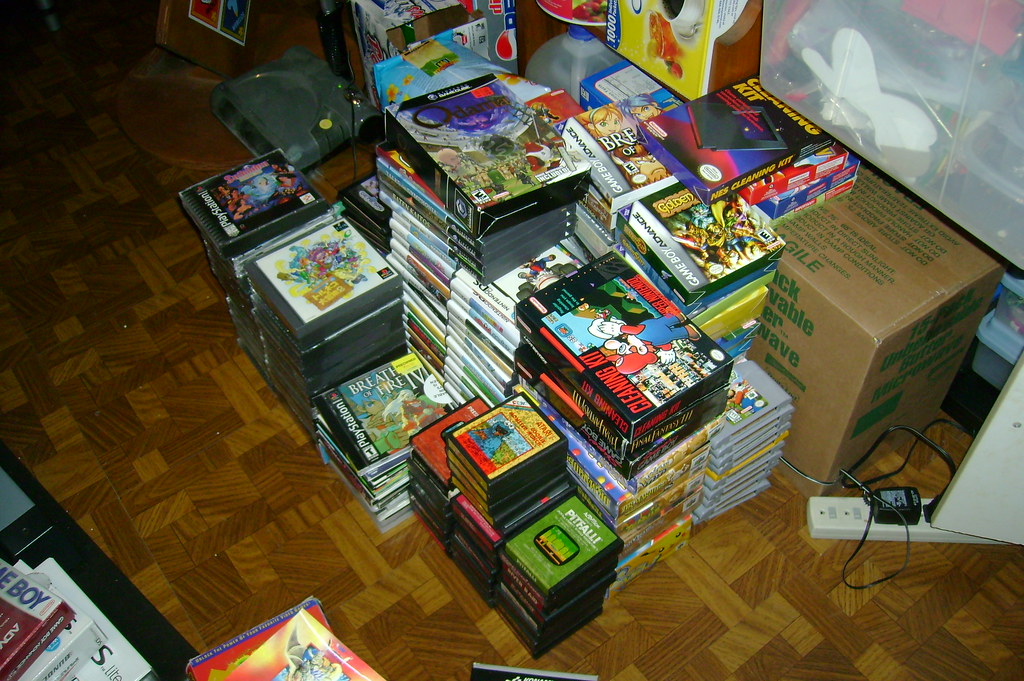 Stacks of video games.