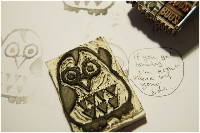 Carved owl stamp - Copyright Hanna Andersson