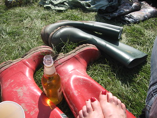 Sun's out, wellies off!