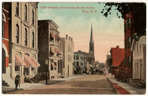 Old Vintage Postcard showing Fifth Avenue, South from Hoosic Street, Troy, New York