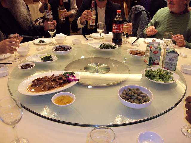 A typical first course at one of our banquets in Hangzhou, China