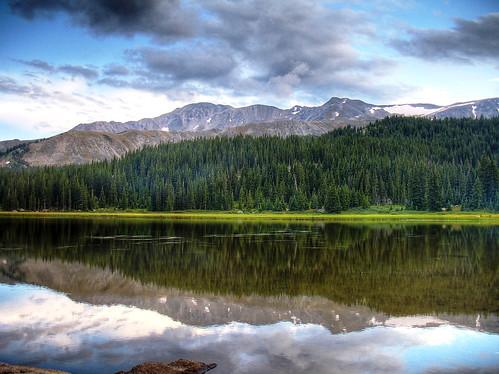 sunset lake scenery colorado co rockymountains wilderness hdr mountmassive