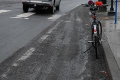 Gravel, leaves in bike lane-4
