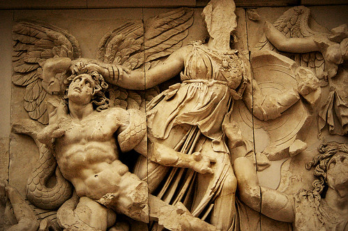 Image of a frieze: From the Great Altar of Zeus, East Frieze, Pergamon Museum, Berlin