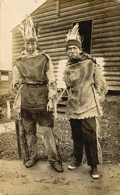 British Soldiers Dressed Up as American Indians - Happy Halloween Happy Indians