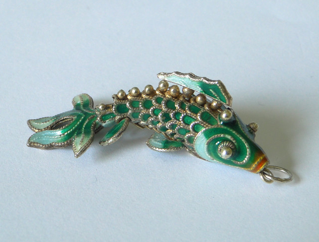 Vintage chinese green enamel koi fish pendant flickr for Green koi fish