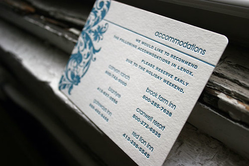 Accommodation Cards For Wedding Invitations: Letterpress Accommodation Card For Wedding Invitation