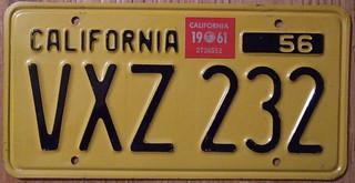 CALIFORNIA 1961 LICENSE PLATE