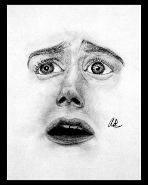 scared face drawing image search results