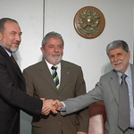 FM Liberman meets Brazilian President Lula and FM Amorim (right) Photo: MFA Photofeed