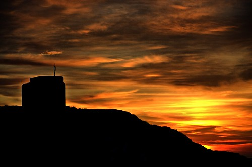 sunset orange silhouette fortification alderney