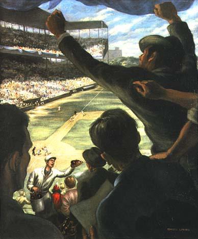 SaturdayAfternoon at Sportsman's Park by Edward Laning, close-up of artwork