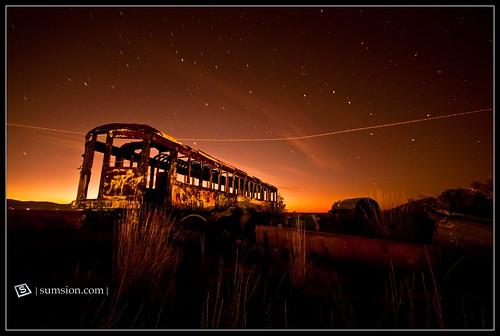 longexposure sunset orange usa halloween stars landscape utah nikon october glow tripod creepy spooky railcar 2009 saltair d90 sumsion nikond90 sumsioncom ovfe