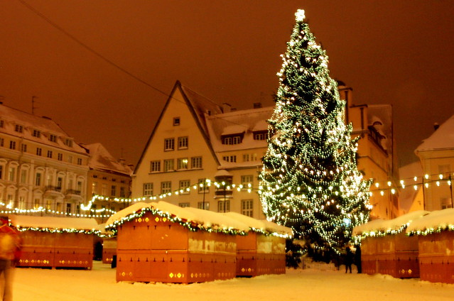 Christmas market, after hours. Raekoja plats, Tallinn, Estonia