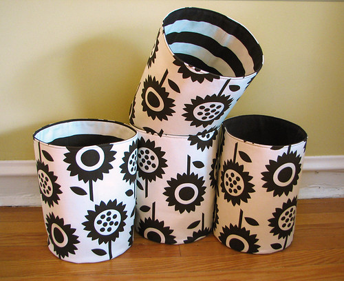 Sunflowers fabric storage buckets