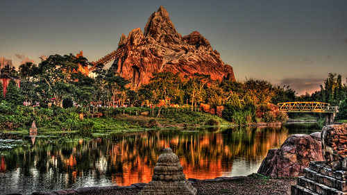 travel bridge trees sky plants plant reflection tree water rock clouds river ruins asia ride unitedstates florida ruin disney wdw waltdisneyworld hdr themepark animalkingdom attraction disneysanimalkingdom expeditioneverest explored serkazong 31kmswoforlando discoveryriver
