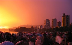 sunset, rain, thunder, and fireworks in vancouver