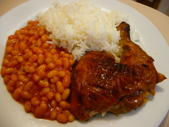 BBQ chicken, baked beans and rice | Flickr - Photo Sharing!