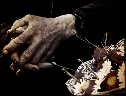 The hands of a flower seller