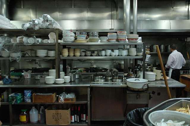 Tai Tung Chinese Restaurant Kitchen, stacked bowls, since 1935, Seattle, Washington, USA