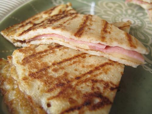 Ham and cheese pancake quesadillas