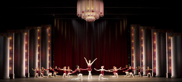 Carlos Acosta, Zenaida Yanowsky, Sarah Lamb and dancers of The Royal Ballet in Rubies as part of Jewels © Johan Persson/ROH 2007
