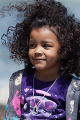 child, black hair, face, hairstyle, purple, head, hair, afro, person, beauty, portrait, smile, eye,