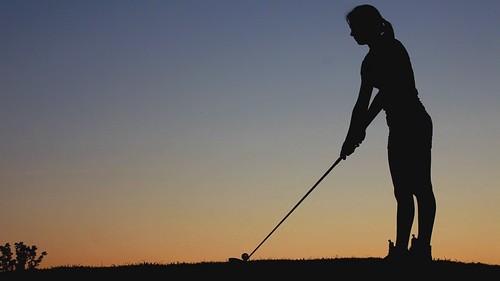 sunset girl silhouette canon golf nc north swing carolina highdefinition 5d hd links golfer markii hollyridge archdale 5dmkii 5dmk2 katiewiggins