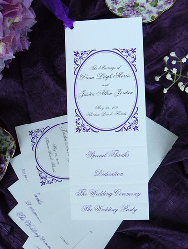 Kitty tiered wedding programs with ribbon by Wiregrass Weddings