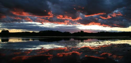 sunset lake clouds felhő felhők háromfa