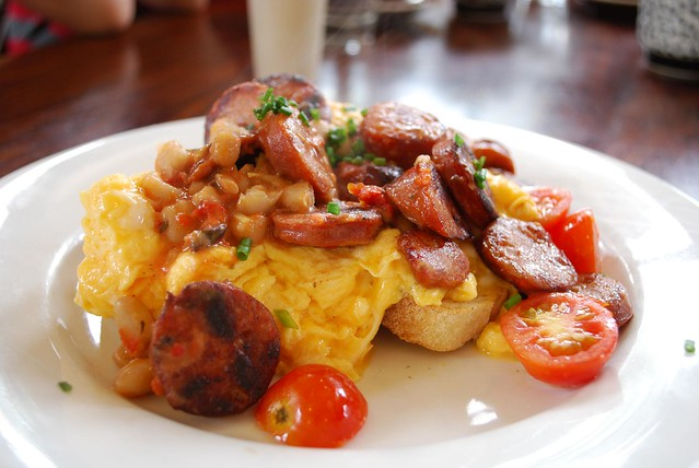 Scrambled Eggs with Chorizo, Cannelini Beans, Cherry Tomat… | Flickr ...