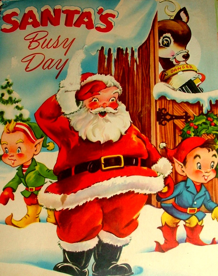 cover vintage childrens christmas book with flaps fold outs pockets santas busy - Best Childrens Christmas Books
