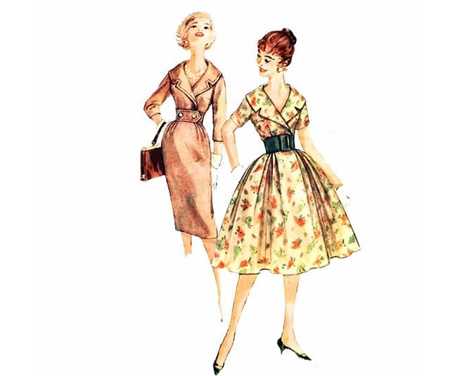Vintage 1950's rockabilly dress sewing pattern, Simplicity 3068