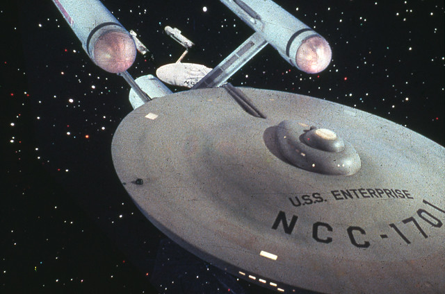 "filming Star Trek - The U.S.S. Enterprise and sister starship ""Constellation"""
