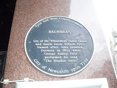 Photo of Wheatsheaf Public House and music room, Newcastle upon Tyne, Balmbra's Music Hall, and John Balmbra black plaque