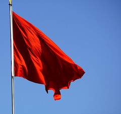 red, wind, flag, red flag, blue, sky,