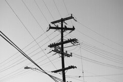 electrical supply, overhead power line, line, transmission tower, monochrome photography, electricity, monochrome, black-and-white,