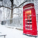 London snow: Telephone box