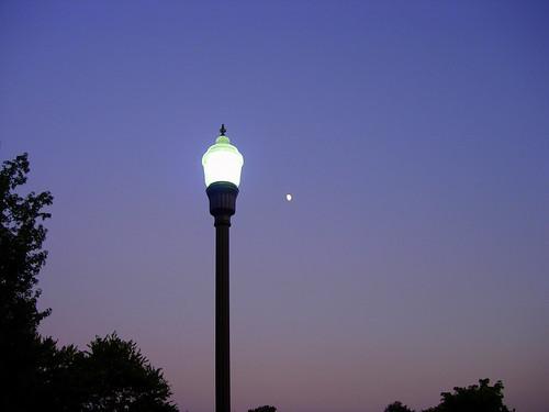 sunset moon lamp dusk lamppost