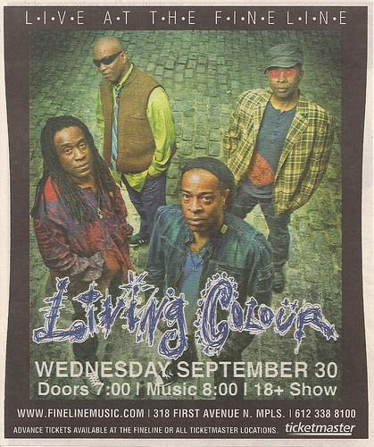 09/30/09 Living Colour @ Minneapolis, MN (Ad)