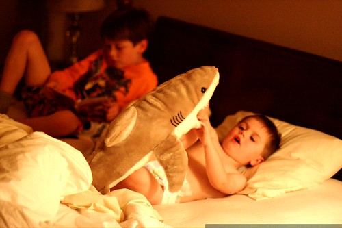settling in for bedtime with a book about the iron giant and a big stuffed shark    MG 5869
