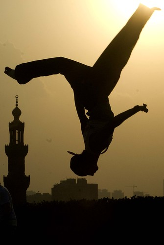 Parkour on the streets of Cairo, Egypt.