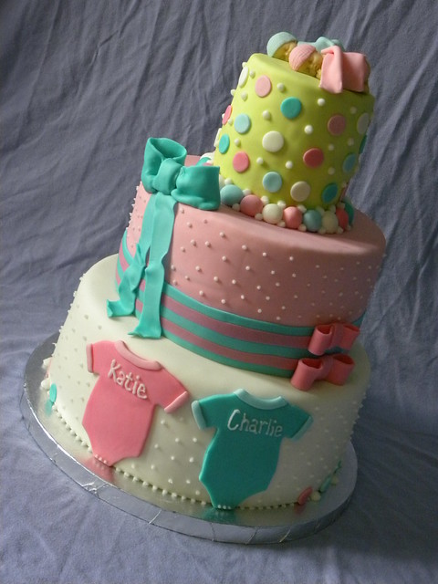 twins baby shower 3 tier baby shower cake for twins by the sweet