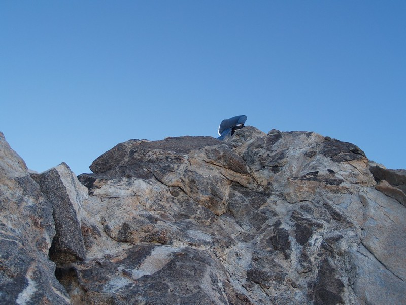 Scrambling up to the Class 4 summit block of Cornell Peak.
