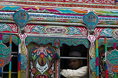 ornate bus..sober man..