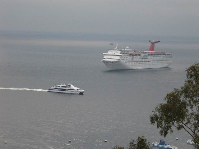 Cruise Ship From Our Hotel Window  Avalon  Santa