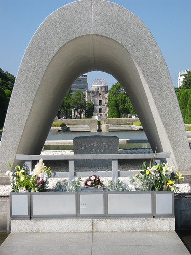 View Through the Memorial Cenotaph of the Peace Flame and the Peace Memorial
