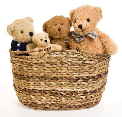 Teddy Bear Family in Picnic Basket