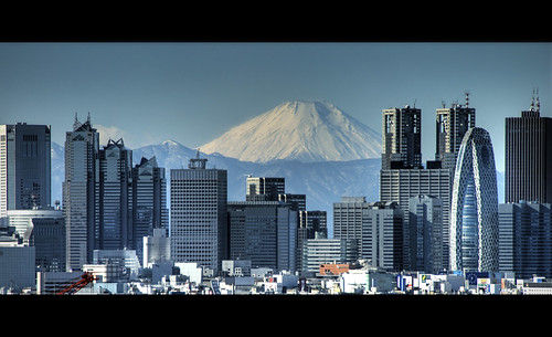 Mt Fuji looming over Shinjuku