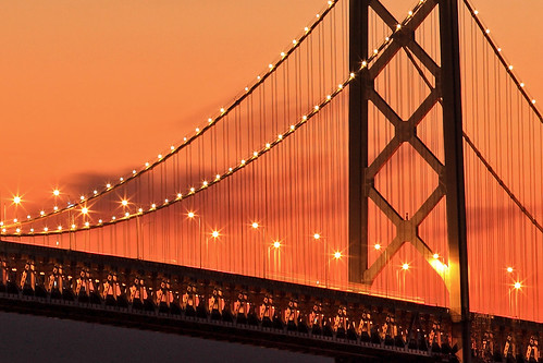 Bay Bridge Lights At Sunset